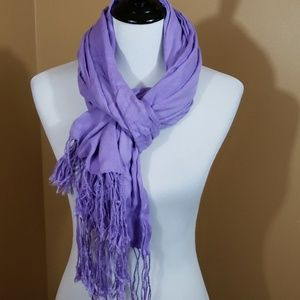Lilac scarf/wrap with fringe